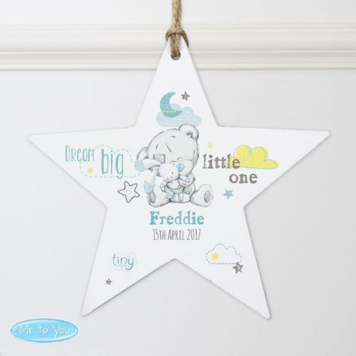 Personalised Tiny Tatty Teddy Blue Dream Big Wooden Star Decoration